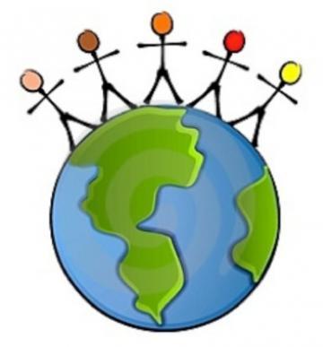 People on globe